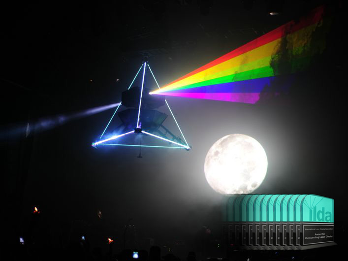 "The 2008 Tour featured numerous power, control and visual upgrades over the 2007 effect. The intent of the laser sculpture, the iconic prism with entering laser and exiting rainbow, was to recreate the album artwork from ""Pink Floyd- The Dark Side of the Moon"" as originally designed by Strom Thorgerson as a three-dimensional artform."