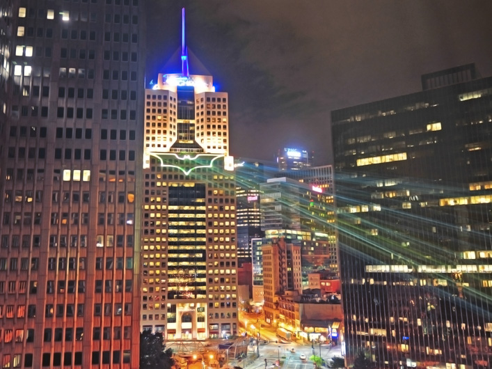 "To welcome director Christopher Nolan and the cast and crew of the new film ""The Dark Knight Rises"" to the city of Pittsburgh, Lightwave International was called upon to project the caped crusader's logo on the city skyline in brilliant laser light."