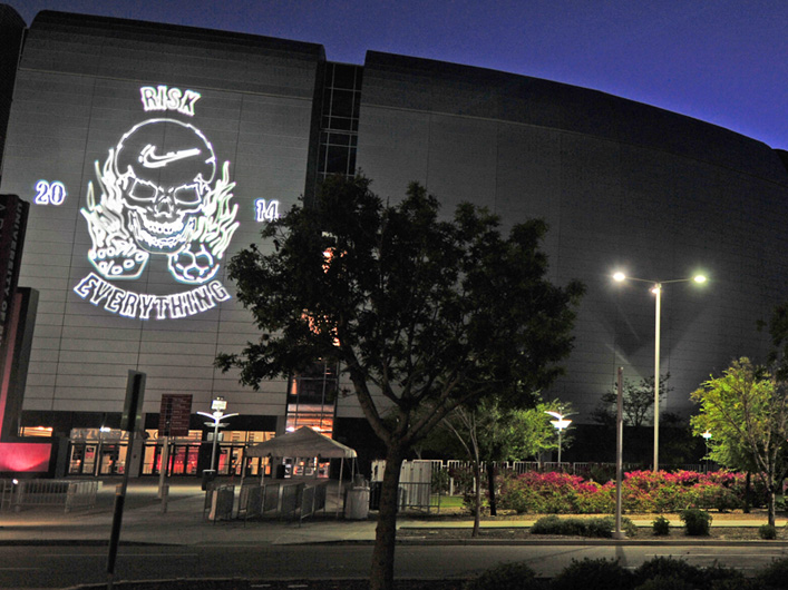 Nike Risk Everything Laser Skull projected on Phoenix Stadium by Lightwave International.