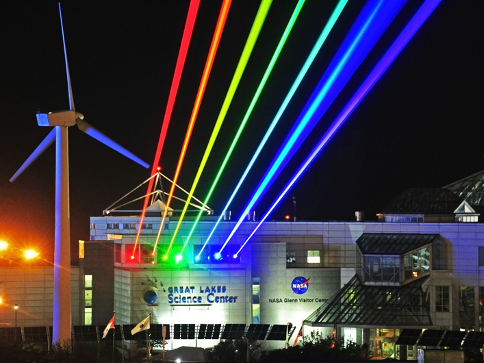 Yvette Mattern's stunning Global Rainbow is brought to life from the roof of the Great Lakes Science Center in Cleveland by Lightwave International's lasers.